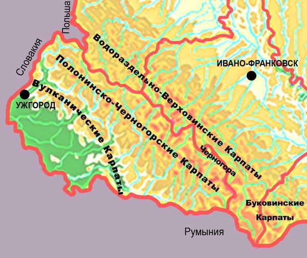Карта-схема Украинских Карпат.