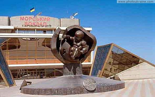 City Odesa. Marine station, monument Gold Child Odesa Region Ukraine photos