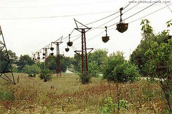 Town Lysychansk. Longest industrial cable car of Europe Luhansk Region Ukraine photos
