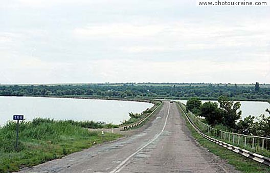 Small town Leninske. Dam on Kamenka river Dnipropetrovsk Region Ukraine photos