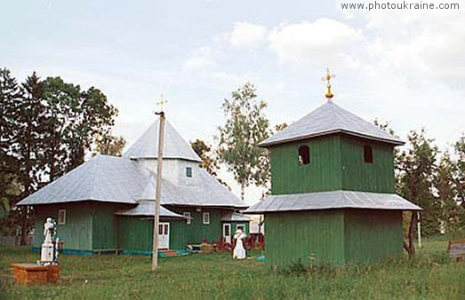 Village Nyzhni Stanivtsi. Wood Church Chernivtsi Region Ukraine photos
