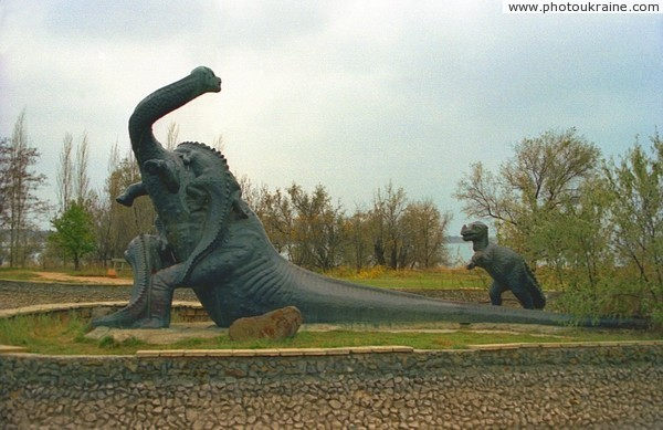 Saky. Monument of Brontosaur family Autonomous Republic of Crimea Ukraine photos