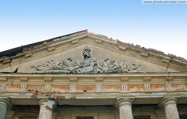 Tulchyn. Remains of stucco on pediment of lateral wings Vinnytsia Region Ukraine photos