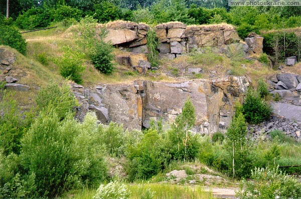 Zhezheliv. Deserted station granite quarry Vinnytsia Region Ukraine photos