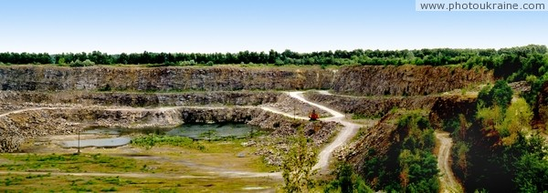 Stryzhavka. Panorama of granite quarry Vinnytsia Region Ukraine photos