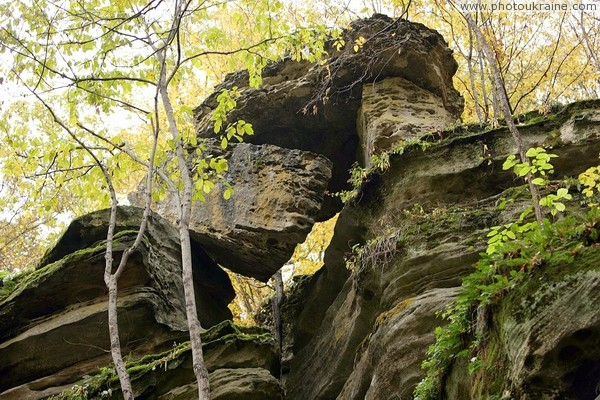 Busha. Hanging rock in Gaydamak Yar Vinnytsia Region Ukraine photos