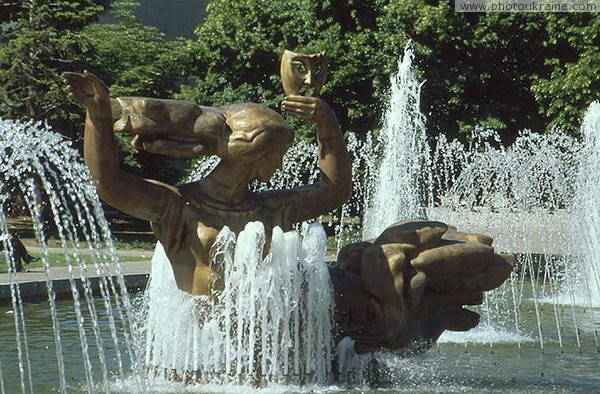 Dnipropetrovsk. Sculptural fountain at Opera and Ballet Theater Dnipropetrovsk Region Ukraine photos