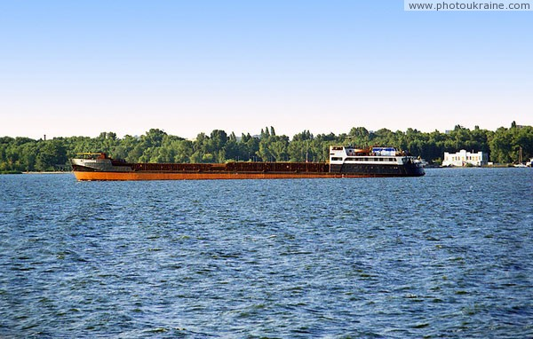 Dnipropetrovsk. Container ship on Dnieper Dnipropetrovsk Region Ukraine photos