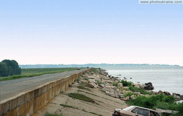 Leninske. Strengthening eastern part of dam Dnipropetrovsk Region Ukraine photos