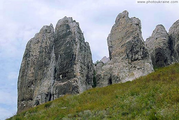 Bilokuzmynivka. Rocks of writing chalk Donetsk Region Ukraine photos