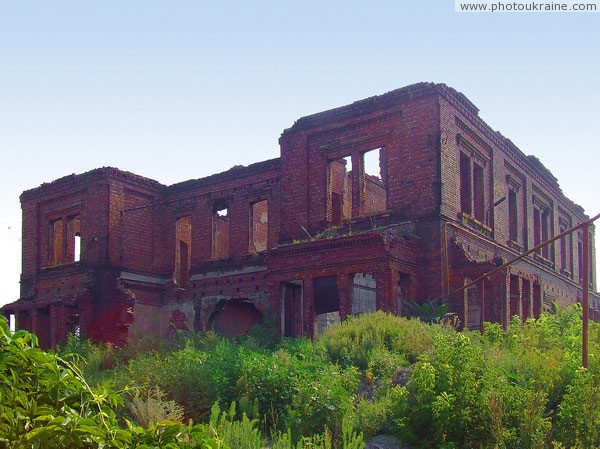 Donetsk. Ruins of ceremonial facade John Hughes mansion Donetsk Region Ukraine photos