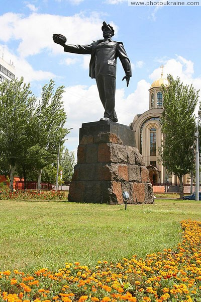 Donetsk. Most recognizable monument of city Donetsk Region Ukraine photos
