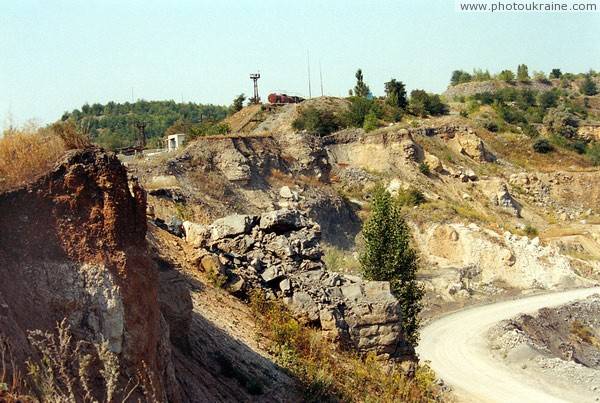 Komsomolske. Upper layer of sediment career Donetsk Region Ukraine photos