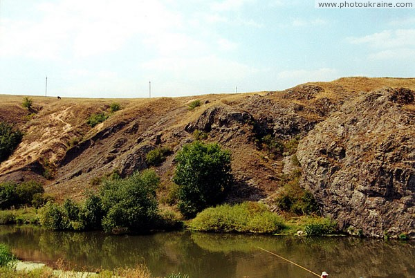 Rozdolne. Outcrop of Devonian sandstones Donetsk Region Ukraine photos
