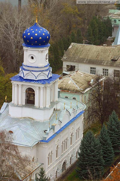 Sviatogirska lavra. Pokrovsky temple with chalk cliffs Donetsk Region Ukraine photos