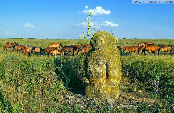 Reserve Khomutovsky Steppe. Polovetsian woman Donetsk Region Ukraine photos