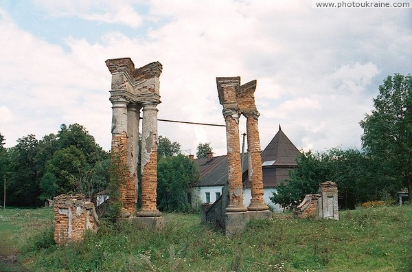 Ivnytsia. Ruins of ceremonial entrance estate Zhytomyr Region Ukraine photos