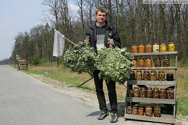 Merchant with his goods Zhytomyr Region Ukraine photos