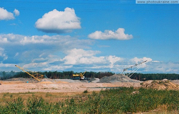 Roadside brown coal mining Zhytomyr Region Ukraine photos