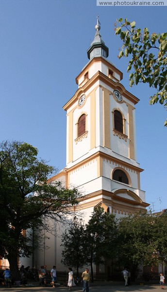 Beregove. Bell tower of church reformers Zakarpattia Region Ukraine photos