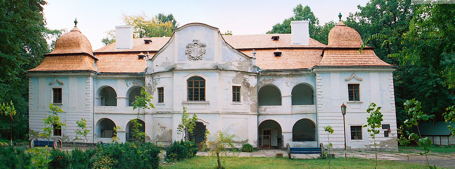 Vynogradiv. Front facade of palace Pereni Zakarpattia Region Ukraine photos
