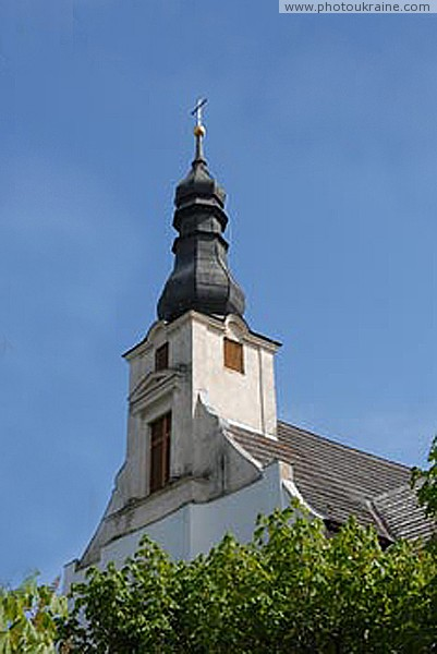 Vynogradiv. Bell tower of church of Franciscan Zakarpattia Region Ukraine photos