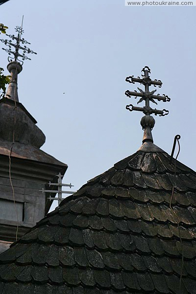 Deshkovtysia. Three crosses Church of Intercession Zakarpattia Region Ukraine photos