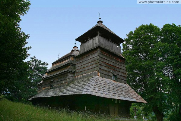 Kostryna. Holy Protection church and bell tower Zakarpattia Region Ukraine photos