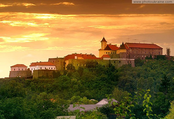 Mukacheve. Mukacheve castle at sunset Zakarpattia Region Ukraine photos