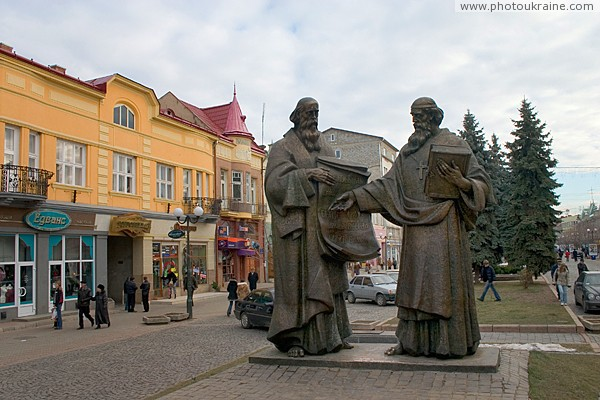Mukacheve. Monument to Cyril & Methodius Zakarpattia Region Ukraine photos
