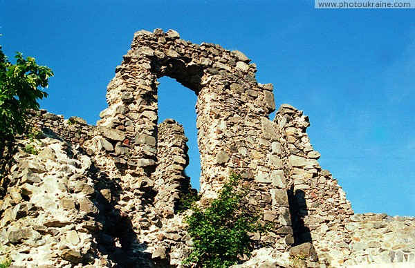 Nevytske. Fragment of castle walls Nevytske Zakarpattia Region Ukraine photos