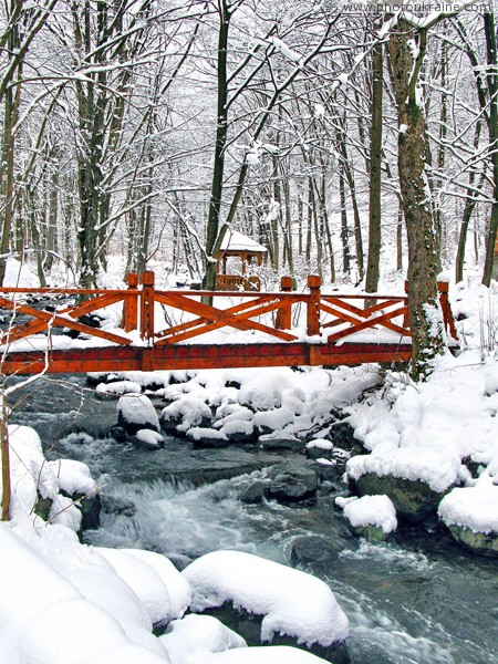 Syniak. Bridge over river Matekova Zakarpattia Region Ukraine photos