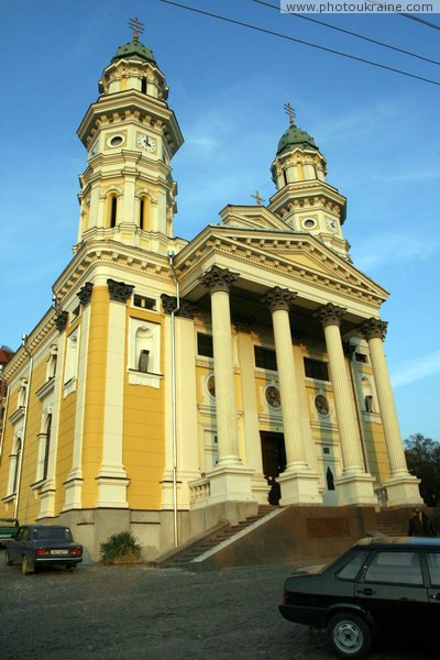 Uzhgorod. Main facade of Holy Cross Cathedral Zakarpattia Region Ukraine photos