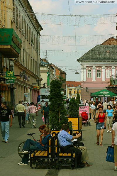 Uzhgorod. Stream of people on street Korzo Zakarpattia Region Ukraine photos