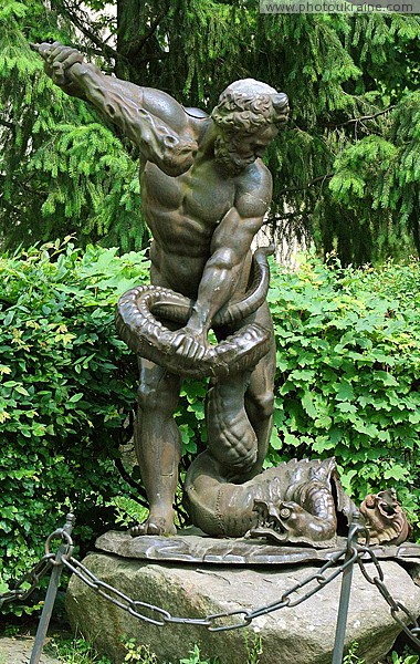 Uzhgorod. Sculpture of Hercules in Uzhgorod castle Zakarpattia Region Ukraine photos