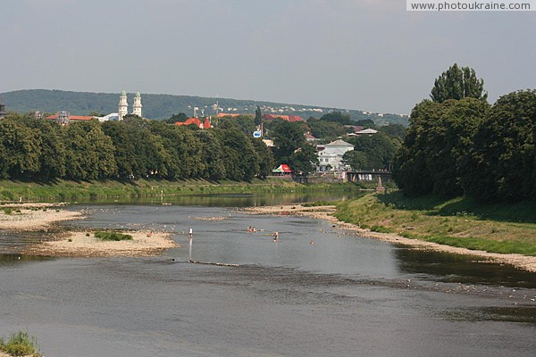 Uzhgorod. Broad, shallow, but swift river Uzh Zakarpattia Region Ukraine photos