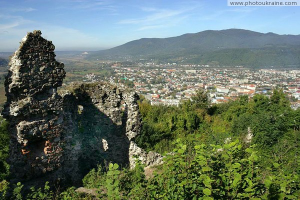 Hust. View of city from ruins of castle Hust Zakarpattia Region Ukraine photos