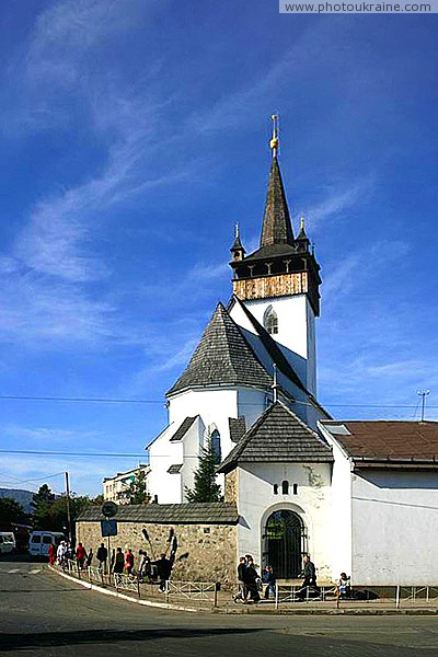 Hust. Eastern facade of church Saint Elizabeth Zakarpattia Region Ukraine photos