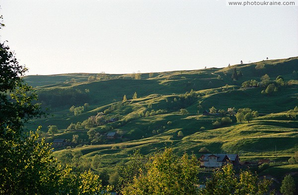 Lazeshyna. Landslide slope of valley river Lazeschyna Zakarpattia Region Ukraine photos