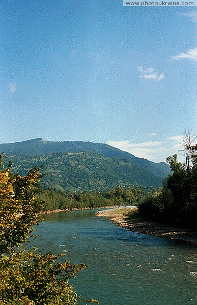 Lug. Tisa River rapids channel Zakarpattia Region Ukraine photos
