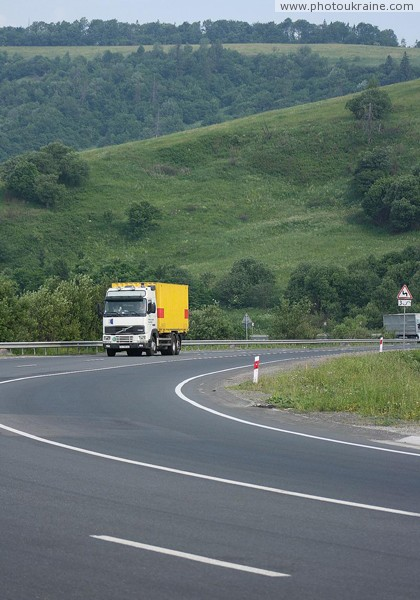 E50 road climbs up Veretsky pass (839 m) Zakarpattia Region Ukraine photos