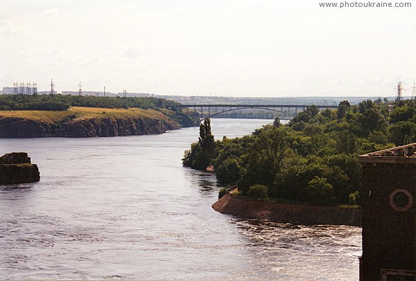 Zaporizhzhia. Arched bridge from dam Dniproges Zaporizhzhia Region Ukraine photos