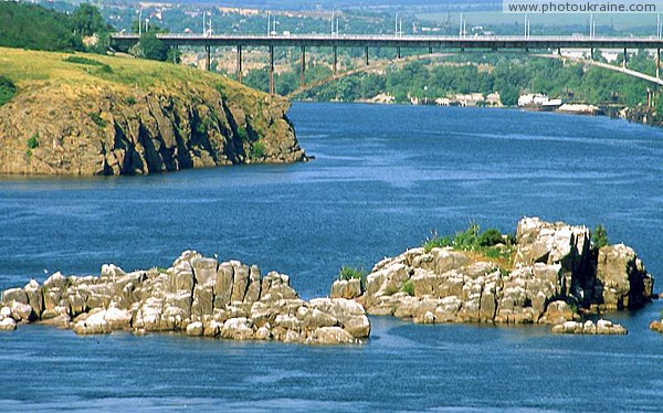 Zaporizhzhia. Rocks Sloping and Middle Pillar Zaporizhzhia Region Ukraine photos