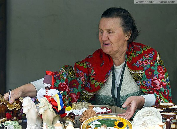 Zaporizhzhia. Mistress of counter with souvenirs Zaporizhzhia Region Ukraine photos