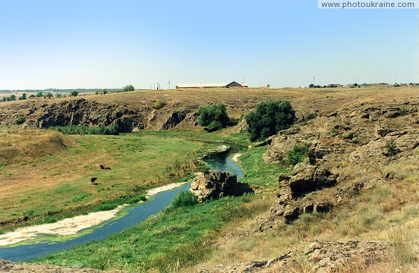 Mykolaivka. Picturesque bend of river Berda Zaporizhzhia Region Ukraine photos