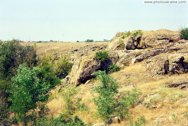 Mykolaivka. Stony pile by river Berda Zaporizhzhia Region Ukraine photos