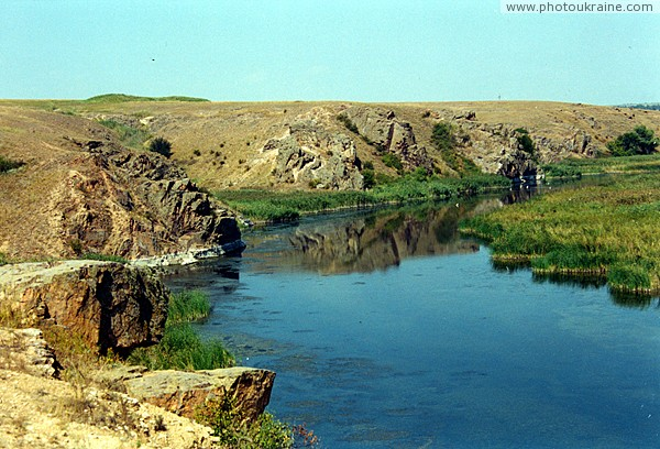 Radyvonivka. Picturesque rocky shore of Berda Zaporizhzhia Region Ukraine photos
