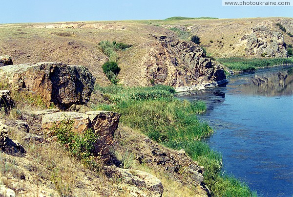Radyvonivka. Granite ledges river shore Berda Zaporizhzhia Region Ukraine photos