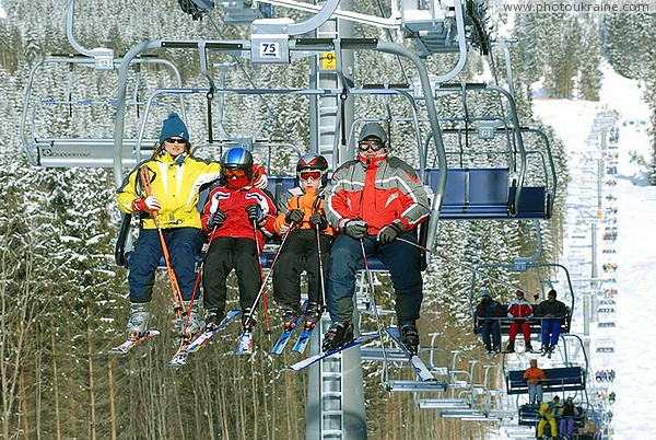 Bukovel. Family lift on a 4-chair lift Ivano-Frankivsk Region Ukraine photos