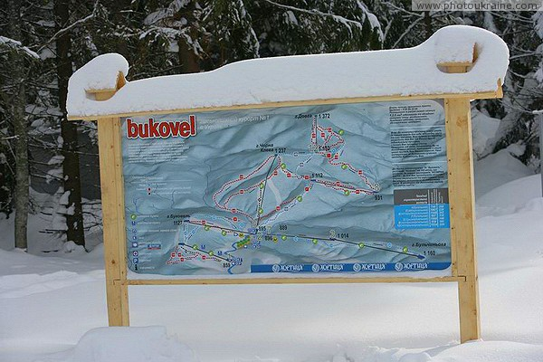 Bukovel. Advertising post-map of the resort Ivano-Frankivsk Region Ukraine photos